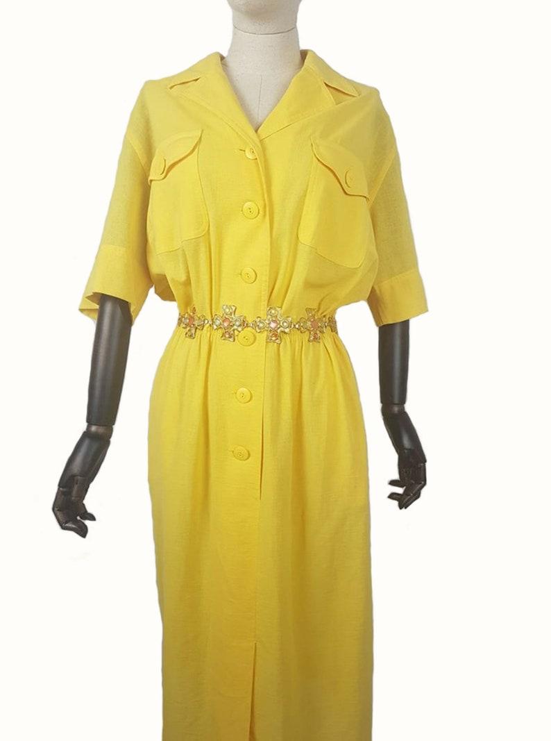 Ladies designer dress Vintage 80/'s Caroline Rohmer ladies yello front button waist elasticated front pockets dress