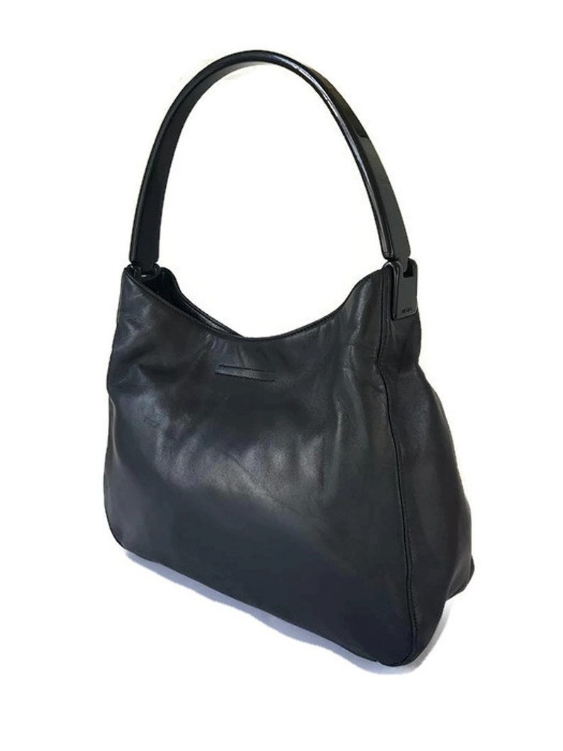 18609837e75b9 Sale! Vintage Prada woman plastic handle lambskin leather black shoulder  hobo medium bag, Italian designer hobo bag.