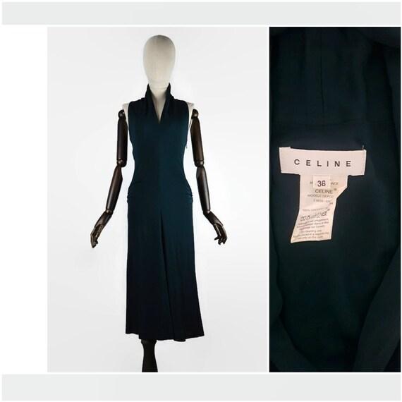 CELINE PARIS 70's dark turquoise open shoulders be