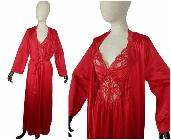 OLGA Vintage 70's nightgown 2 piece set robe sleep
