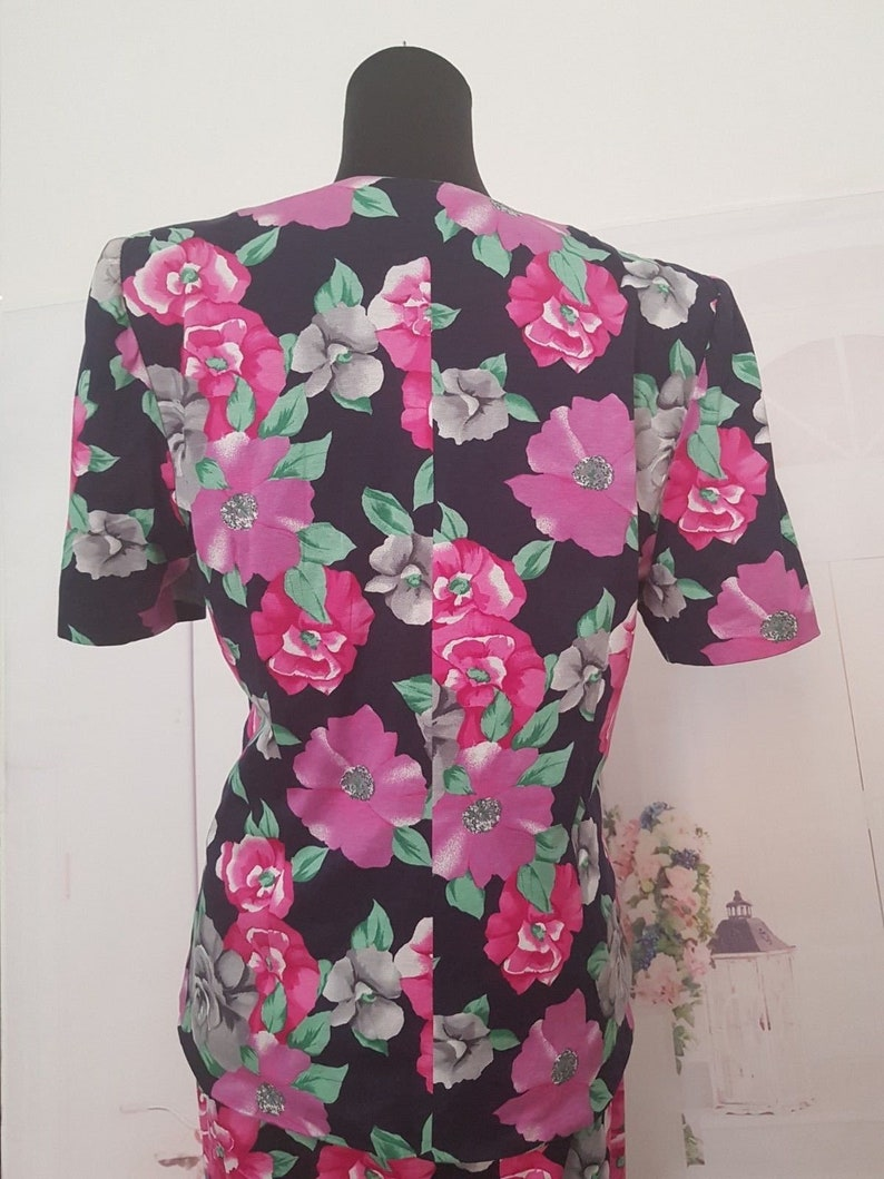Vintage 80/'s Luisa Spagnoli Italian Designer floral skirt jacket 2 piece matching set suit eu 44 uk 14 Us 10 Sale