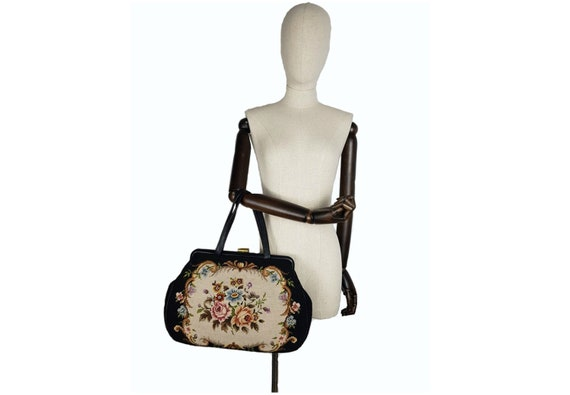 Vintage needlepoint 50's leather and tapestry bag,