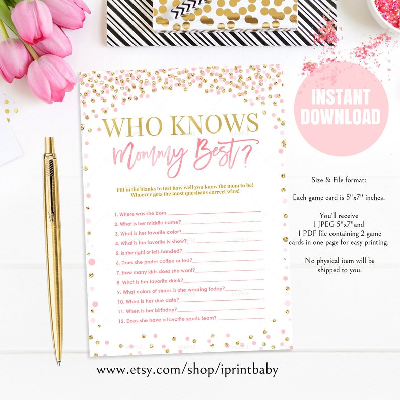 graphic regarding Who Knows Mommy Best Printable identified as Who Understands Mommy Perfect Boy or girl Shower Online games Printable, Purple and gold Kid Shower Match Quick Down load, How properly do your self understand mommy toward be, Blush