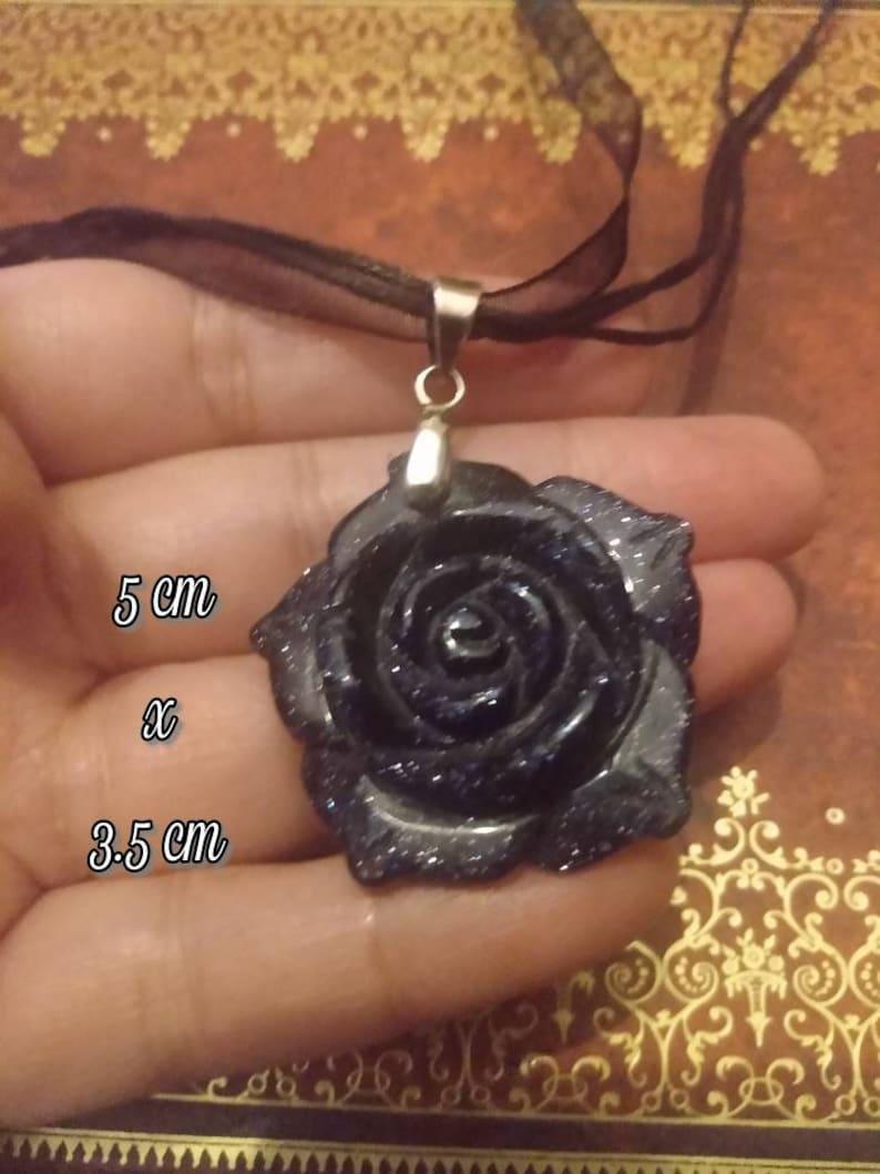 Dark Flower,Goldstone,Gothic Flower Pendant,Unisex Jewelry,Tarot,Witchy,Gothic Enchantment Dark Goldstone Pendants Midnight Rose