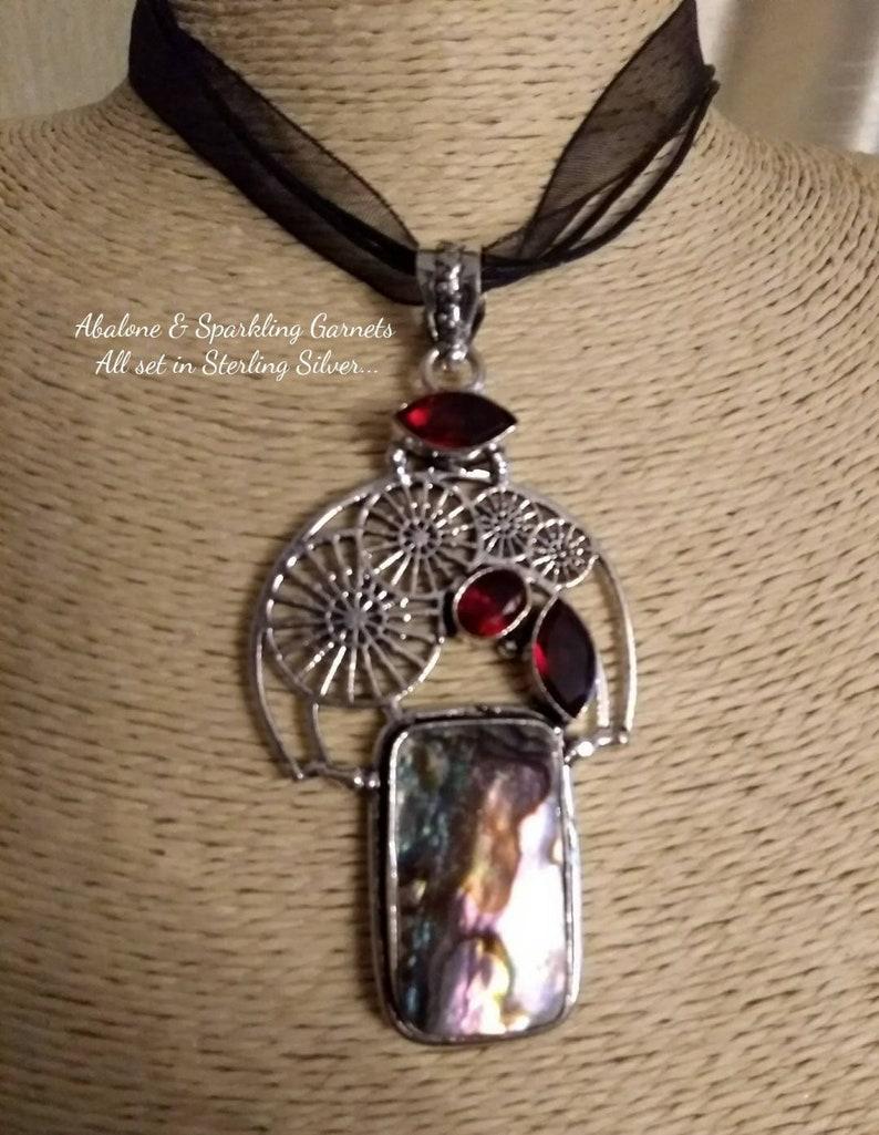 Sterling Silver,Boho,Beach Wedding,Victorian Goths,Mermaids,Pastel Goth,Gothic Enchantment Abalone and Garnet Steampunk Pendant