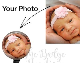 Badge Reel, Custom Photo ID Badge Holder, Add Your Own Photo, Personalized Photo Badge, Nurse Badge Gift, Nurse ID Holder, Badge Clip, RN
