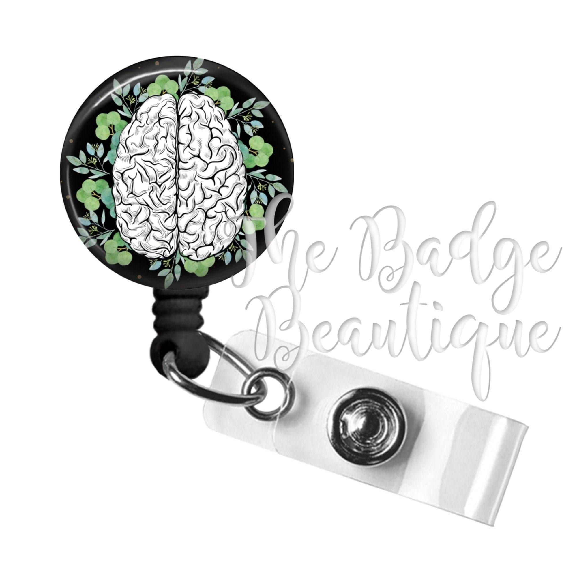 ID Badge Clip Rose Name Badge Neuro Nurse Retractable ID Badge Holder Gift for Neuro Nurse Neurology Name Tag Floral Brain Badge Reel