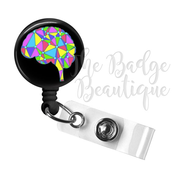 1x Brain Art ID Badge Reel Holder Clip Retractable RT Tech Nurse Neuro RN