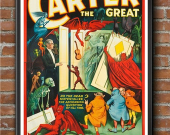 The Great 1 Vintage Magician Poster A4 print  Carter