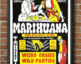 Art Print A3 A4 Vintage POSTER Anti Weed Marijuana Propaganda JUST SAY NO