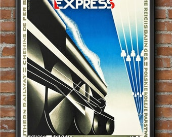 TX113 Vintage Nord Express Paris Berlin Riga Railway Framed Travel Poster A3//A4