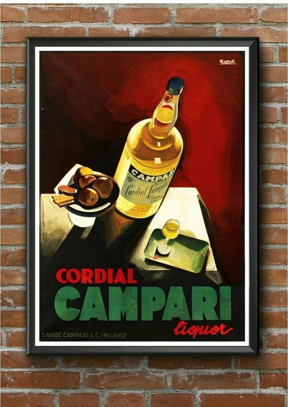 large 4 sizes available Vintage Rare Campari Soda ad print poster