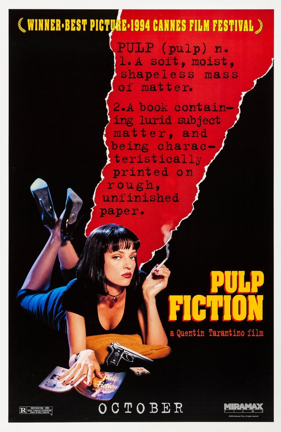A2 A4 sizes A1 A3 Pulp Fiction Vintage Movie Poster