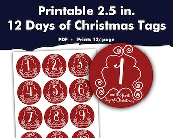 printable 12 days of christmas labels holiday gift giving tags secret santa stickers red and white diy spouse boyfriend present idea - 12 Days Of Christmas Gift Ideas For Boyfriend