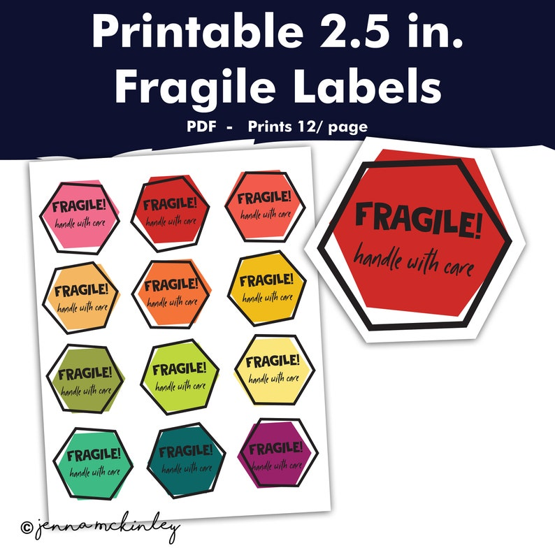 image regarding Printable Fragile Label called Printable Delicate Regulate With Treatment Shipping and delivery Cargo Offer Supplier Labels, Transferring Box Sticker, Hexagon Rainbow Geometric Obtain Tag Card