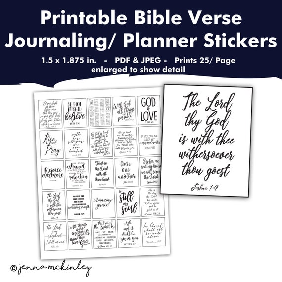 photo regarding Printable Bible Verses Pdf identify PRINTABLE Planner Stickers Bible Verse Black and White