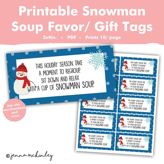 graphic about Snowman Soup Printable Tag called Printable Snowman Soup Rhyme Very hot Cocoa Neighbor Coworker Good friend Scholar Clroom Instructor Present Thought Tag Label Sticker Xmas Trip