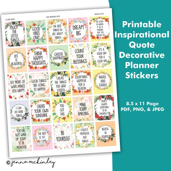 Printable Planner Stickers Inspirational Quote Flower Theme