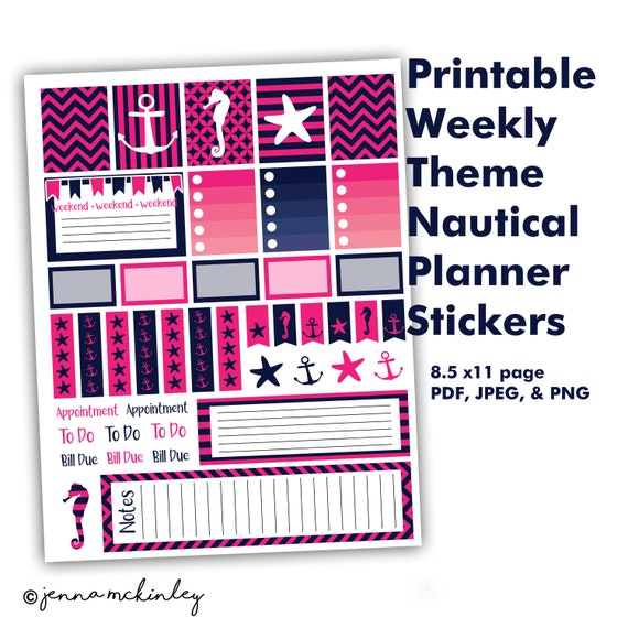 photograph about Printable Organization named PRINTABLE Planner or Bullet Magazine Stickers Purple Nautical