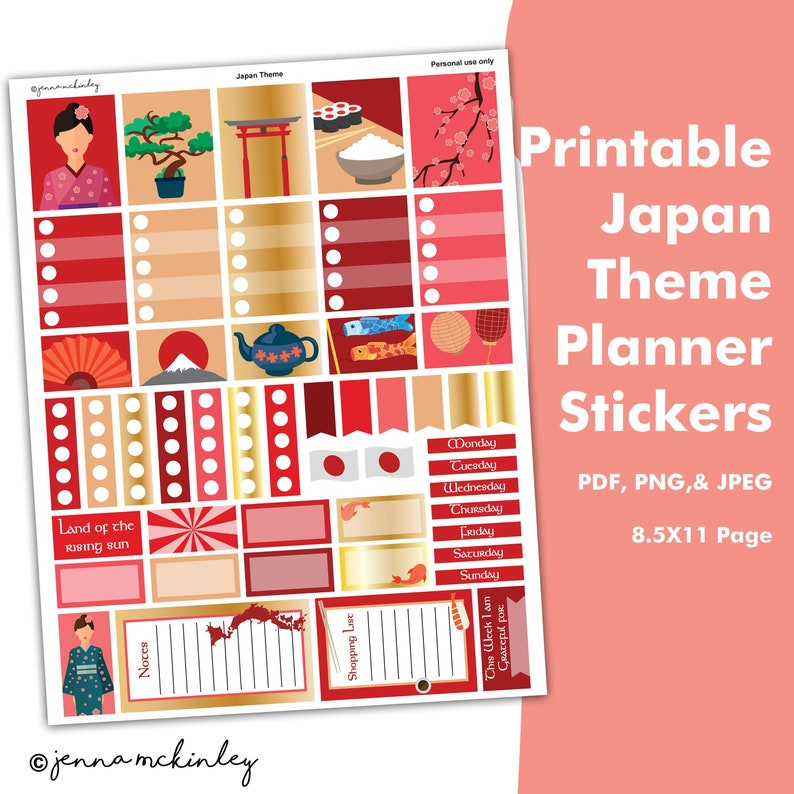 Printable Planner Stickers - Japanese Theme - Instant Download - Bujo  Calendar Schedule Organization Weekly Layout Spread Bullet Journal