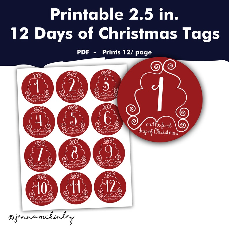 graphic regarding 12 Days of Christmas Printable Tags identify Printable 12 Times of Xmas Labels, Holiday vacation Reward Furnishing Tags, Solution Santa Stickers, Crimson and White Do it yourself Husband or wife Boyfriend Deliver Principle