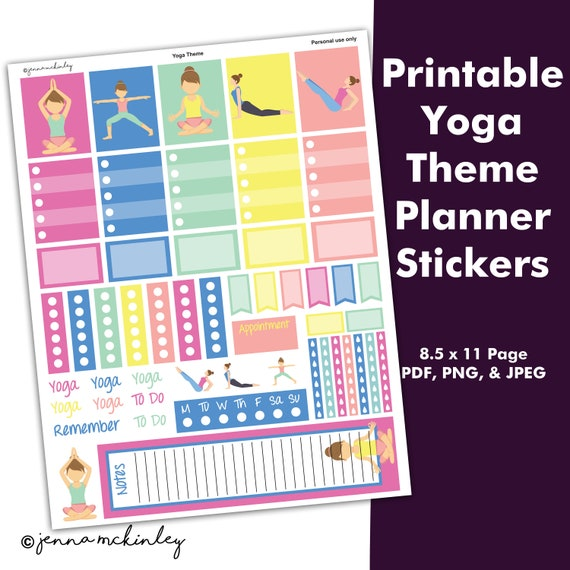 Printable Planner Stickers Decorative Yoga Workout Theme Etsy