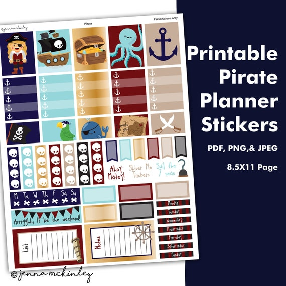 graphic regarding Pirates Printable Schedule known as Printable Planner Stickers - Pirate Topic - Fast Down load