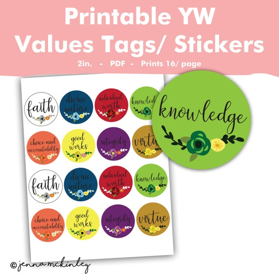 Printable YW LDS Young Womens Personal Progress Value Stickers New  Beginnings Tag Girls Camp Labels Craft Project Ideas Mutual YWIE