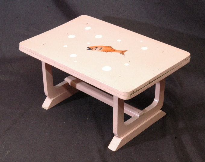 original dinette doll table wood state of use pink stencil