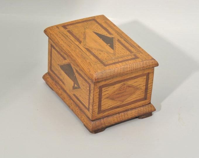 superb little jewelry box oak artisanal and inmemarked marine decoration