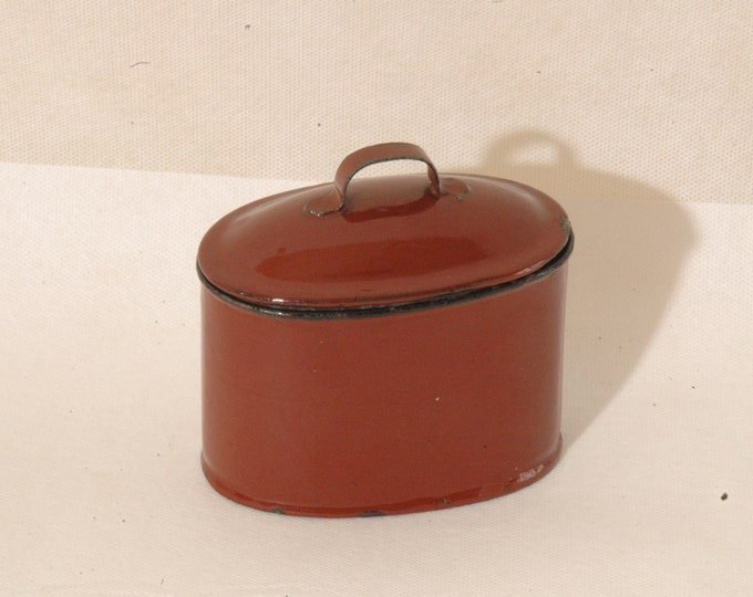 canteen meal box tole enamelled red 40s pot mold