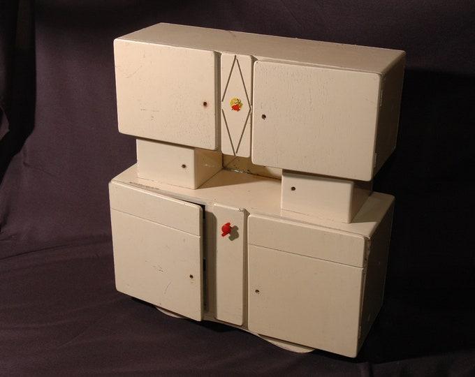 dinette doll cabinet buffet vintage wooden kitchen 1940