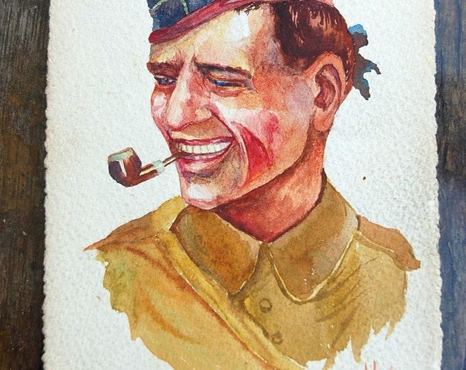 Vintage 14 18 1916 robert lefebvre haven original watercolor painting