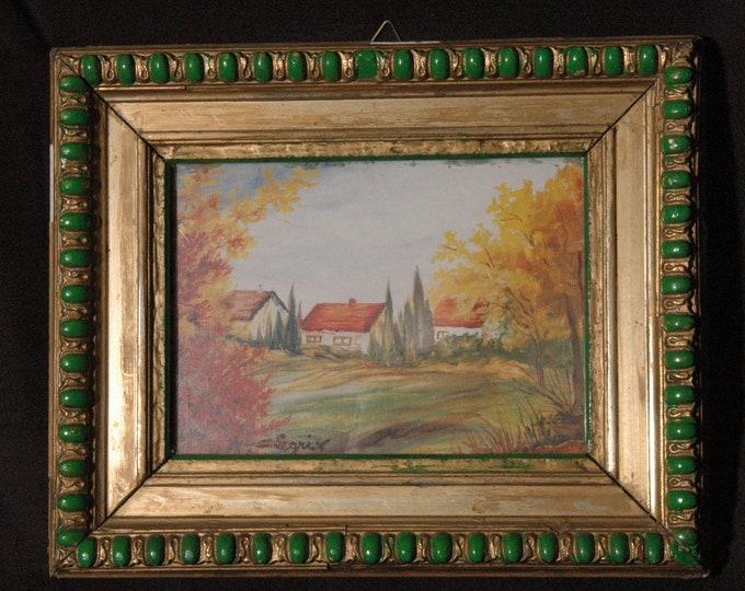 D LEGRIX PEINTRE painting framed landscape houses gouache