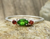 AAA Chrome Diopside and natural red garnet Engagement ring in 14 kt white gold Christmas gift women ring ring for her gift wedding gift