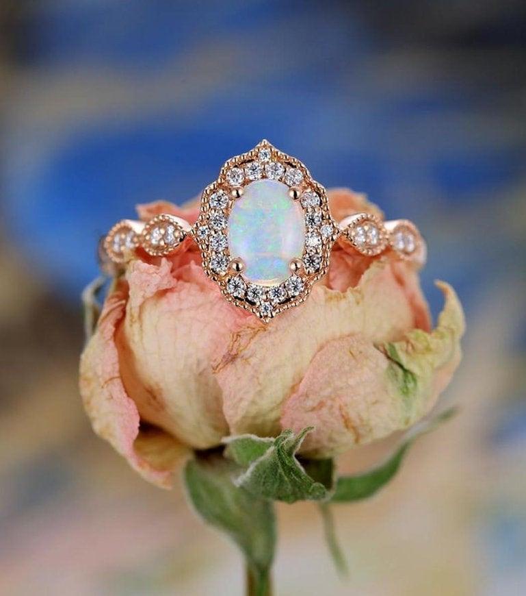 Natural Ethiopian Opal and Natural White Diamond image 0