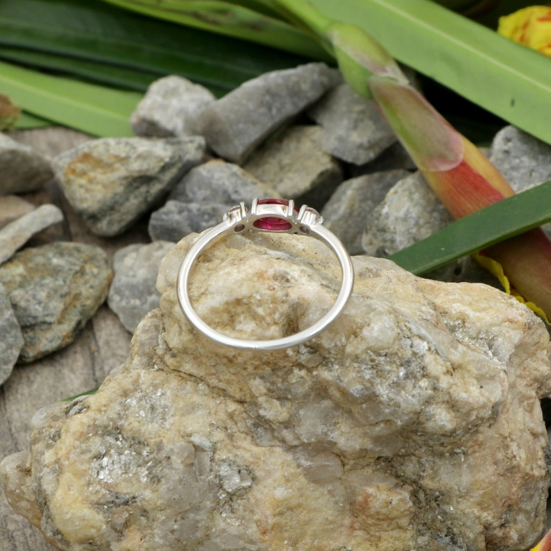 Natural Ruby and natural white diamond Engagement ring in 14kt solid white gold gift for her ring Christmas gift promise ring floral ring.