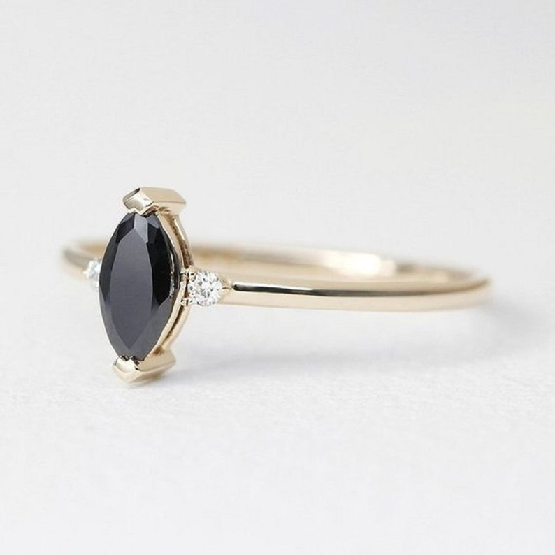 minimalist engagement ring jewellery anniversary gift solitaire ring promise ring gift gift for her. Natural black onyx diamond ring
