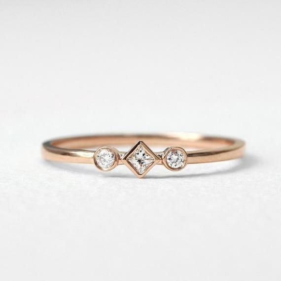 Natural White Topaz Engagement Band In 14kt Solid Rose Gold Etsy