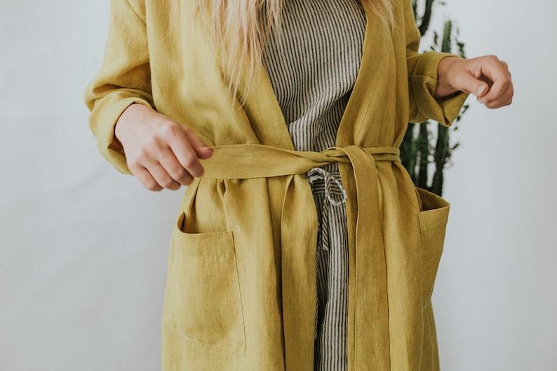 ad1b872107e7 Mustard Yellow Linen ROBE womans robe linen bath robe summer