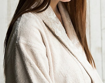 571756cafa Ladies Lace-Trimmed Eco-Friendly Bamboo and Premium 100% Turkish Cotton  Bathrobe Dressing Gown in Beige Colour