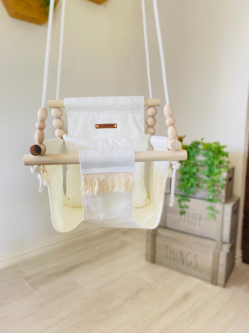 Boho baby swing Boho fringe high back swing nursery toy image 0