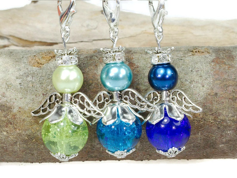 Aquamarine Blue Guardian Angel Earrings with Heart