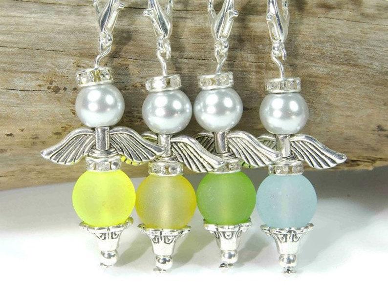 10 Perlen Engelchen Anhänger bunt Schutzengel DIY Set Bastelset für Kinder
