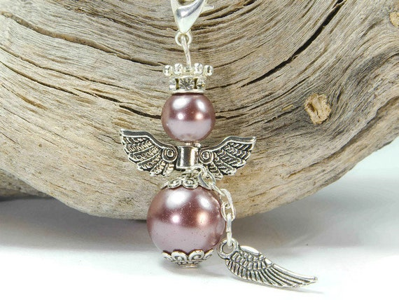 7 Schutzengel Charm Engel Anhänger lila Glücksbringer Bastelset Perlenengel
