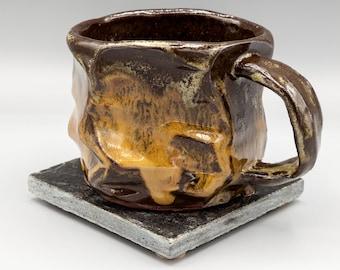 Orange and Brown Hand-carved Mug