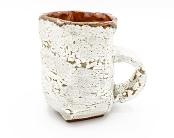 White and Red Hand-carved Mug