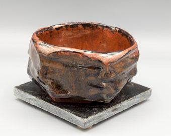Copper and Blue Hand-carved Cup