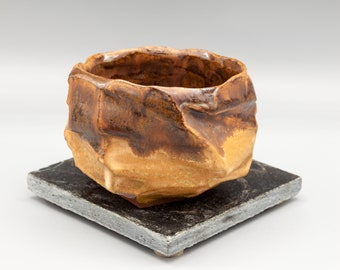 Maroon and Yellow Hand-carved Cup