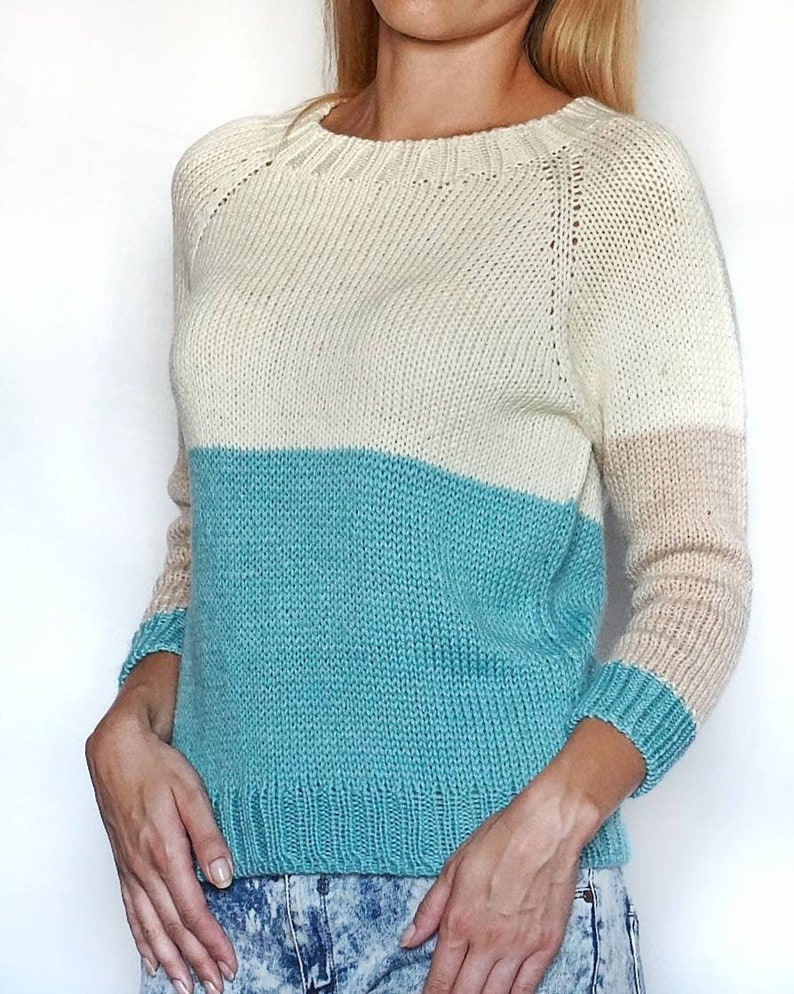 b9b6a116b Three color wool sweater loose fit cozy comfy light knit